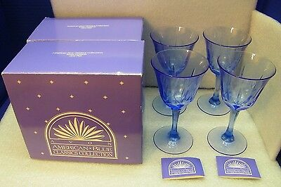 Mothers Day Gift Avon American Blue Classic 4 Water Goblets NIB Crystal 7 1/4""