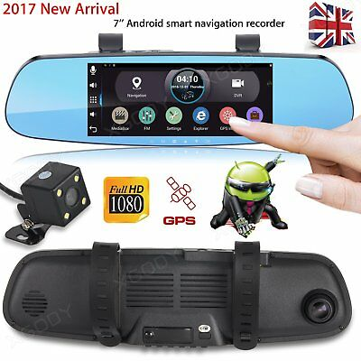 "7"" Full HD 1080P Android GPS Navigation Dual Lens Rearview Mirror Camera Car DVR"
