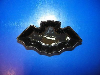 Fall Halloween Black Bat Pottery Dish Bowl Candy Decoraton Candleholder