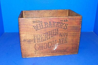 Dovetailed Wooden W H Baker's Chocolate 12 LB Box Premium Winchester & NYC