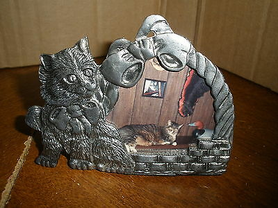 "vintage pewter cat table top photo frame with basket 3"" X 4"""