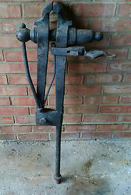 Blacksmith's Pole Vice with original bench fitting Antique, Vintage, Industrial