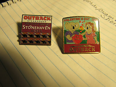 "(2)Outback Steakhouse ""Proudly Serves Stonehaven Wines""+""vALENTINE'S 2009"" pins"