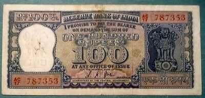 INDIA 100 RUPEES FROM 1967-70 ISSUE , P 62 b, SIGNATURE 76- JHA