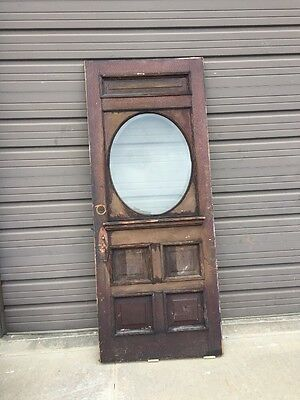 An 157 Antique Pine Raise Panel Beveled Oval Entrance Door 33 3/4 X 83 1/4