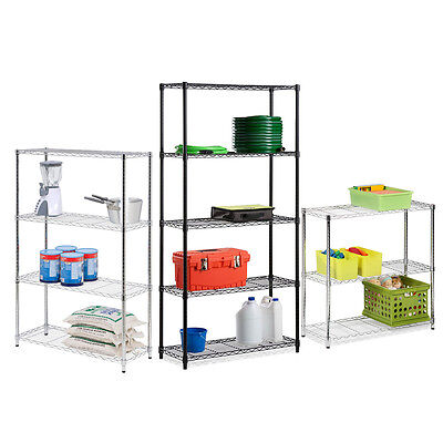 Heavy Duty Metal Adjustable Steel-Wire Shelving Unit Tier - 4 Sizes & 2 Colors!