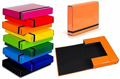 A4 Caribic Files Document Box Folder Elastic Band Storage Foolscap Cardboard