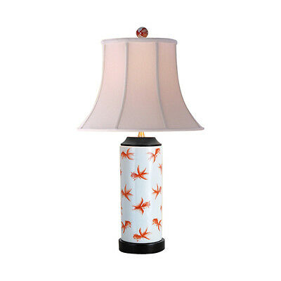 Orange and White Fish Motif Cylindrical Porcelain Vase Table Lamp 24""