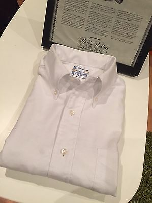1960s Towncraft Half Sleeve  White Button Down Ivy League Skinhead Mod 15.5""