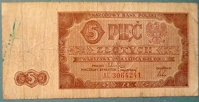 Poland 5  Zlotych Note ,issued  01.07. 1948, P 135, Rare Note