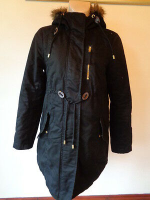 H&m Mama Maternity Black Quilted Parka Jacket Coat Size S 8-10