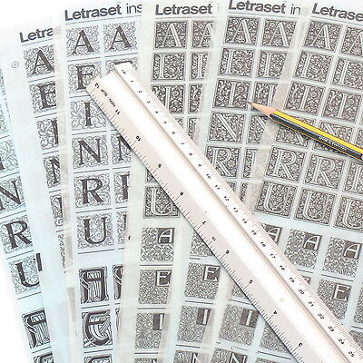 Letraset DECORATIVE INITIALS Rub On Transfer Lettering CHOOSE STYLES +%Discounts