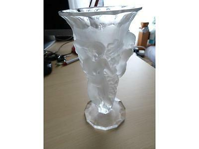 In the style of Lalique/Bohemian 3 nude ladies Frosted Glass Vase