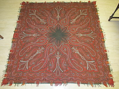 """70""""X70 1800s Antique Hand Made Paisley Wool Piano Shawl Victorian Scarf Stunning"""