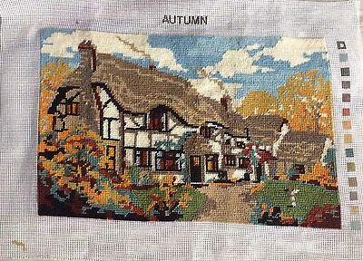 VTG Completed Tapestry Country Cottage Scene Autumn design