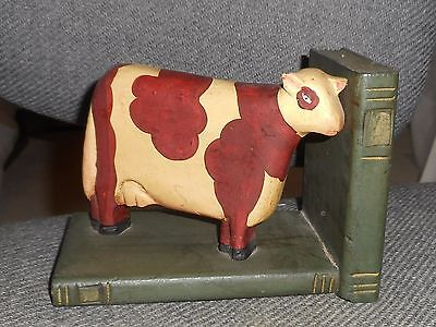 Foll Art Cow Book End Wood Shabby Chic Country Primitive French Country