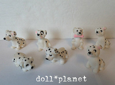 """Animals Pet Puppies lot of 7 Dalmations 1.5"""" black spots dogs Barbie 1/6 scale"""
