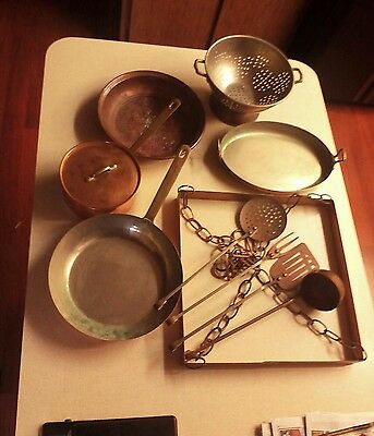 Vintage Hanging Rack Kitchen Utensil Set Douro Korea Copper and more Pots Pans