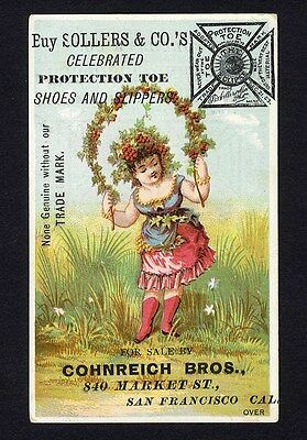 SOLLERS & CO Shoes at CONREICH BROS Market St San Francisco Trade Card 1880s