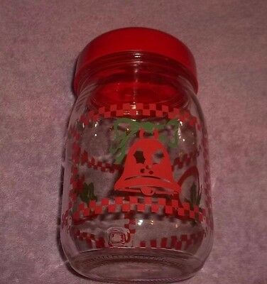 "Vintage Christmas Glass Canister Candy Jar 6 1/2"" Tall"
