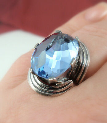 Vintage Taxco Mexican Huge Faux Blue Aquamarine Sterling Silver Ring