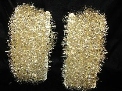 Vintage 2 Pieces Silver Tinsel Christmas Tree Garland - 16' Total