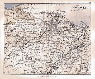 Map of the Environs of Edinburgh, Scotland, dated 1884.