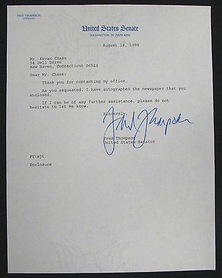 1998 Fred Thompson Autograph Signed  Letter US Senator Tennessee, Actor