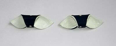 Pair of Vintage Shoe Clips Navy Blue & White Spotted Fabric and White Leather