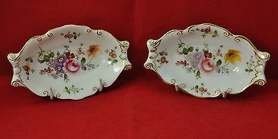 """Royal Crown Derby Bone China  pair oval dishes in """"Derby Posies""""  pattern 1950s"""
