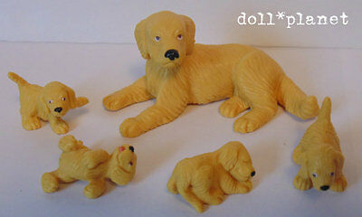 GOLDEN RETRIEVER Dog and her 4 Puppies Figurines dogs 1:12 scale miniatures toys