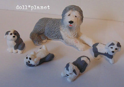SHEEPDOG Dog and her 4 Puppies Figurines dogs 1:12 scale miniatures toys