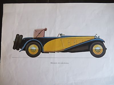 Color Pressed Print (think) Print of Delage 1933 (D8 SS 100)
