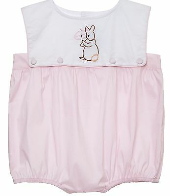 New embroidered bunny bubble romper vintage * 3m - 2t * Easter pink girl smocked