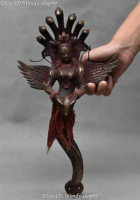 """14"""" Collect Chinese Bronze 5 Head Snake Mother Naga Kanya Hold bugle Statue"""