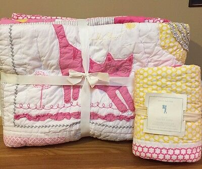 NEW 2PC Pottery Barn Kids Kitty TWIN Quilt + EURO Sham PINK