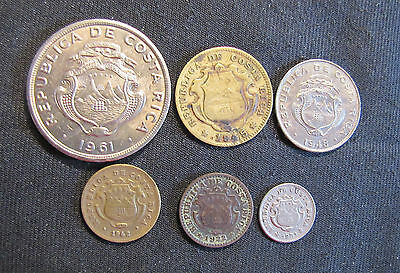 Lot of 6 Costa Rica Coins - 1922 10 Centimos (CORR), 1942 10 Centimos, 1945 25