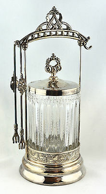 Antique Beaded Glass Pickle Cruet with Tongs