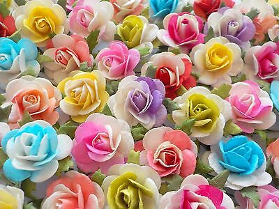 """100! Large Mulberry Paper Roses - 20mm/0.75"""" - Gorgeous 2 Tone Colour Mix Rose!"""