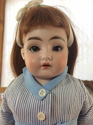 "Antique German Doll E Steiner ""Daisy"" Bisque Head Leather Body 20"""