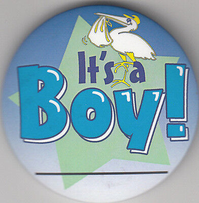 """It's A Boy Birth Announcement Button Pin, 2"""" x 2"""", New, Pin Back"""