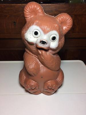 Vintage plastic Reliable Teddy bear bank made in Canada