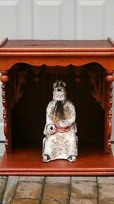 Large Antique 18C Chinese Buddha  Temple Shrine With The  Seated Buddha Statue