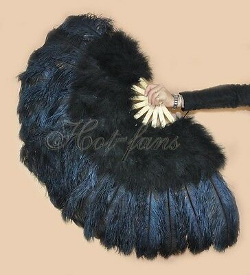 "Burlesque 53"" Black Marabou & Ostrich Feathers Fan Bamboo staves Carrying box"