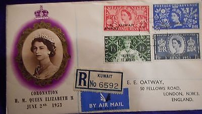 Kuwait 1953 Registered Illustrated Coronation Qeii First Day Cover