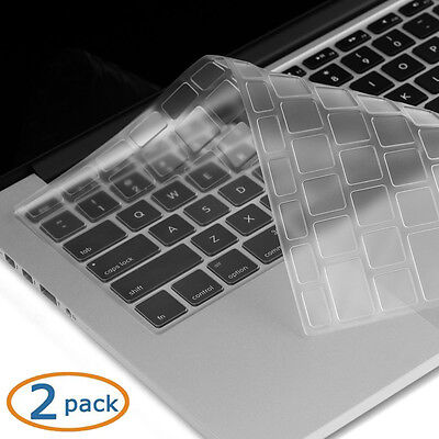 """Transparent-CLEAR Keyboard Cover for MacBook Pro 13"""" 15"""" 17"""" Air 13'' iMac 2Pack"""