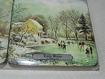 Vtg Avon Winterscapes Currier Ives Coasters Grist Mill COLONIAL