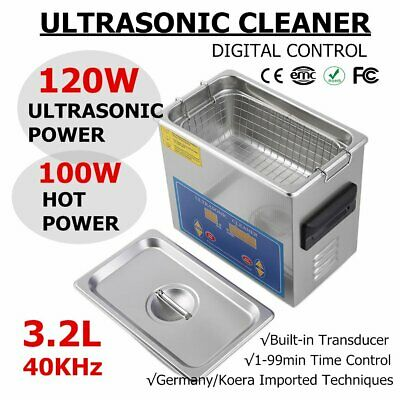 120W New Stainless Steel 3.2L Liter Industry Heated Ultrasonic Cleaner w/Timer B