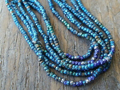 Antique French Steel Cut Beads Loose Metal Micro Faceted Blue Green Purple Rare
