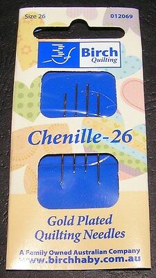 4 Chenille Needles Size 26 Gold Plated Birch Quality Cross Long Stitch Embroider